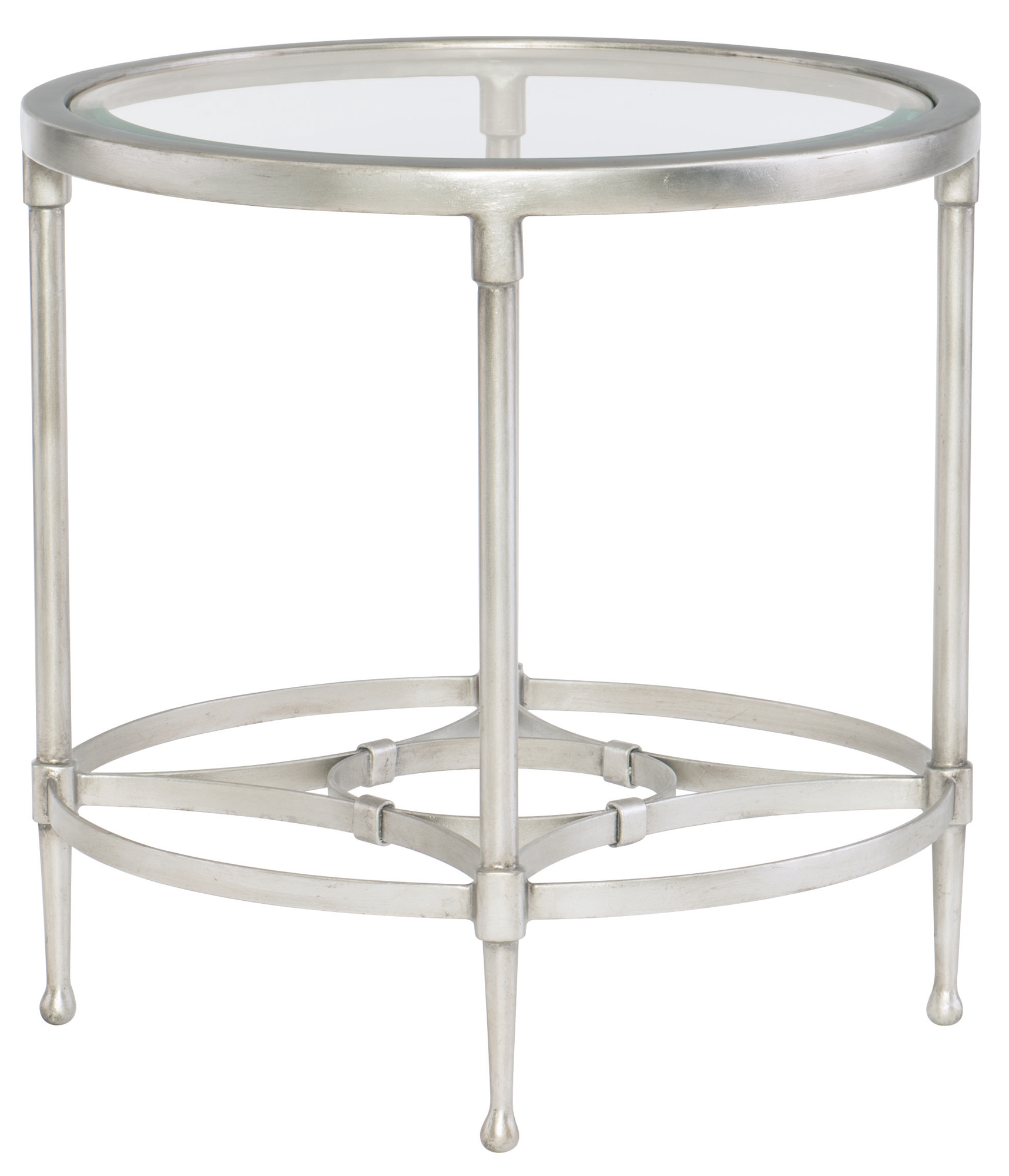 Metal End Tables ~ Round metal end table with glass top bernhardt