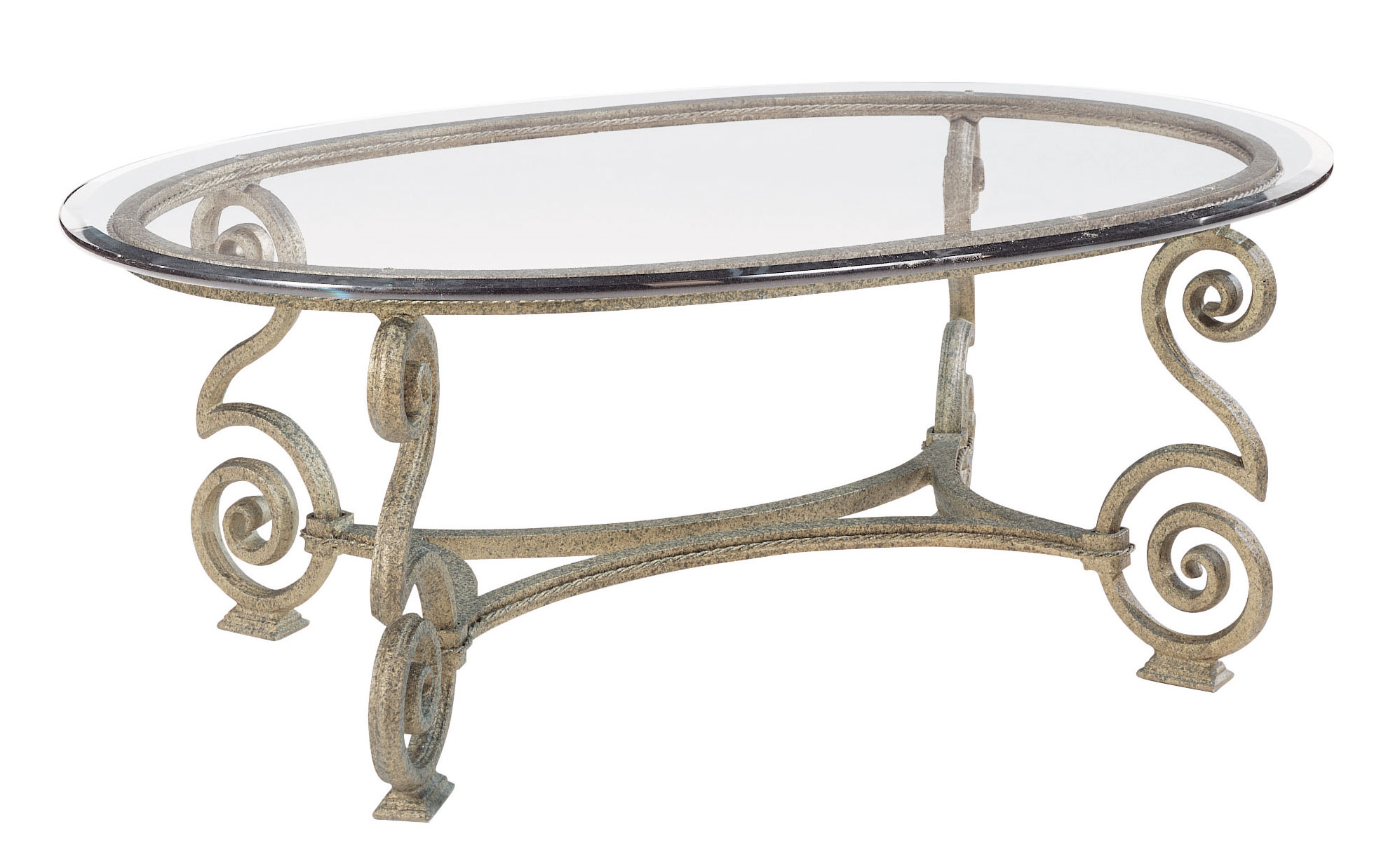Oval Cocktail Table Glass Top And Base Bernhardt