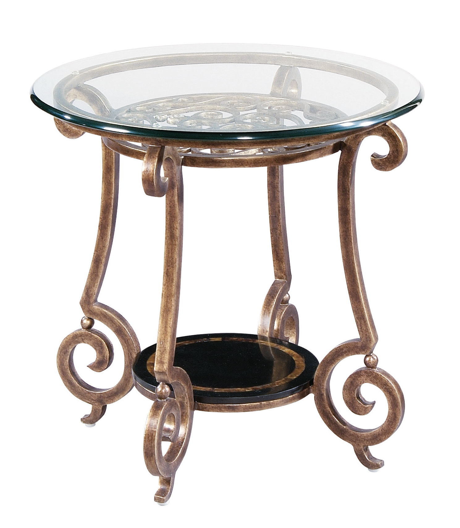 Round End Table Base And Glass Top Bernhardt