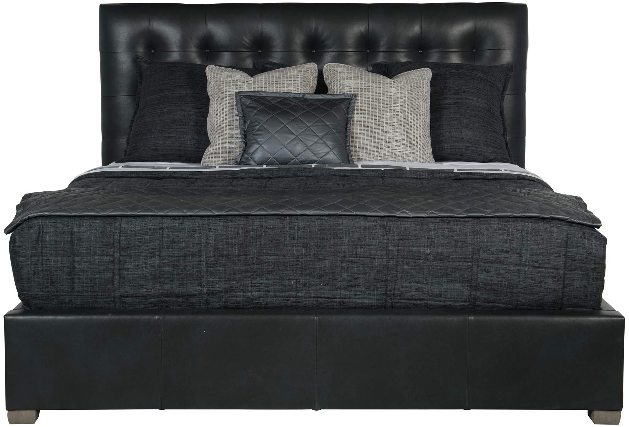 Leather Button Tufted Bed 54 1 2 Quot H Bernhardt