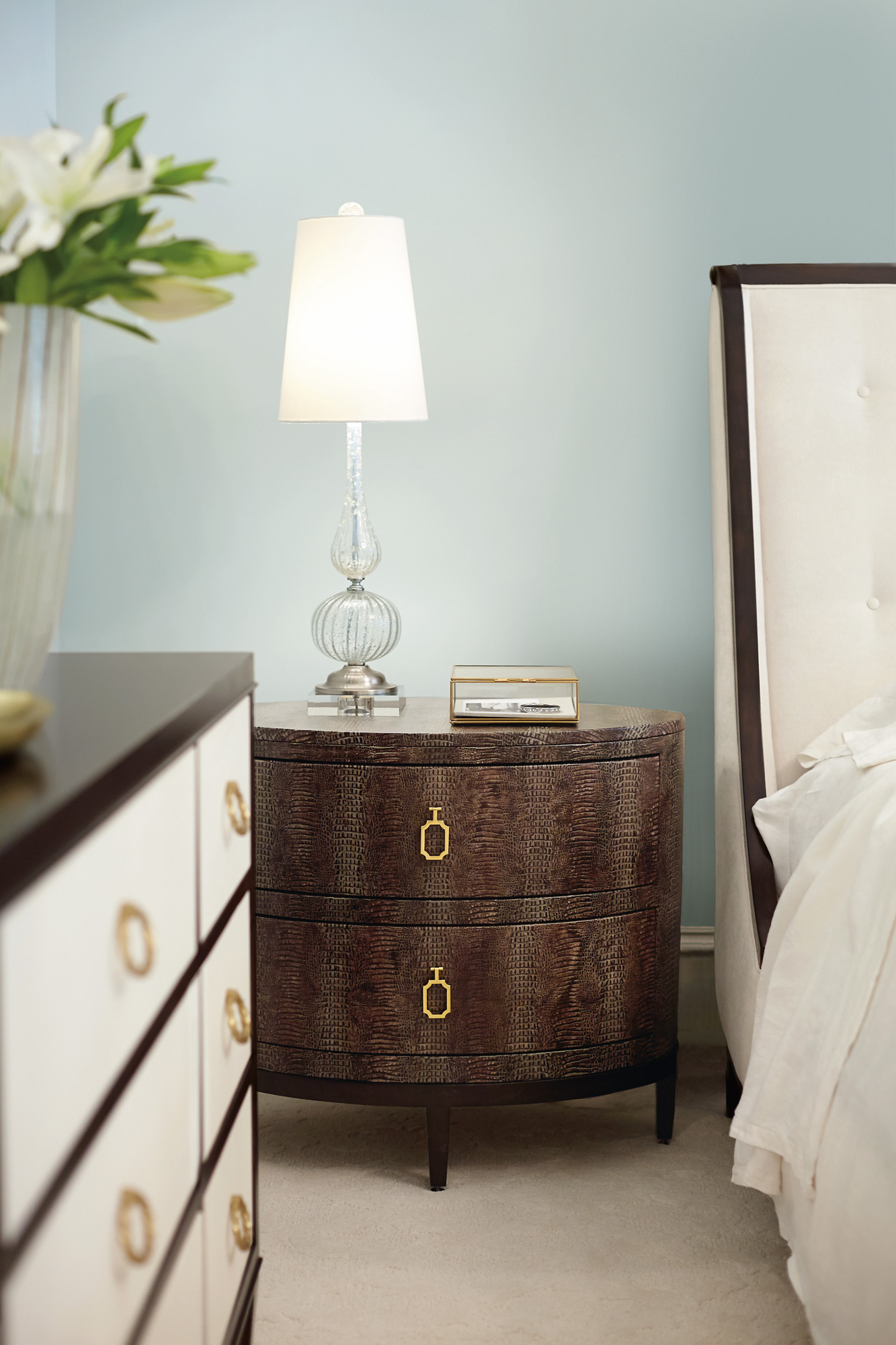 Jet Set Upholstered Bed And Oval Nightstand And Dresser