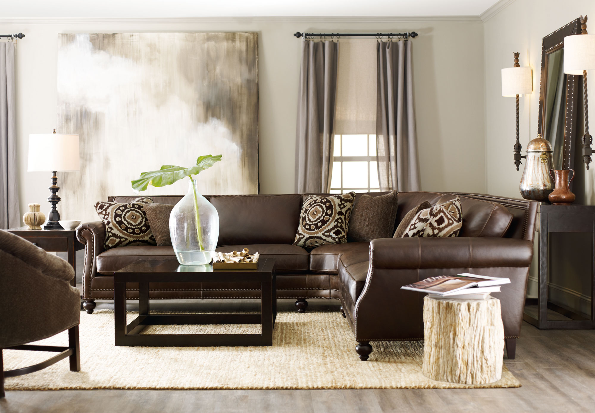 Brae sectional with petrified side table bernhardt for Bernhardt living room furniture